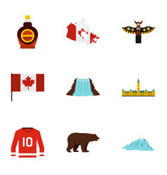 Canada travel icon set flat style vector