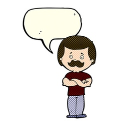 Cartoon manly mustache man with speech bubble vector