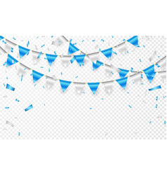 Celebration party banner blue and silver foil vector