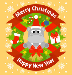 christmas and new year background card with hippo vector image vector image