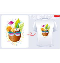 coconut t-shirt print trendy fashion design vector image
