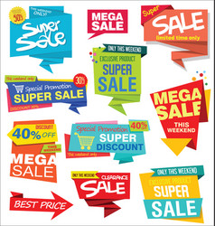 collection sale stickers and tags origami vector image