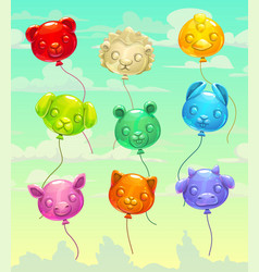 colorful glossy flying animal-shaped balloons vector image