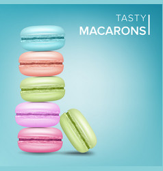 colourful macarons tasty sweet french vector image