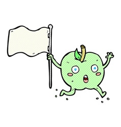 comic cartoon funny apple with flag vector image vector image