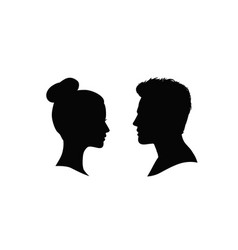 couple faces silhouette man and woman profile vector image