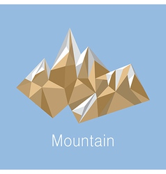 Cubic style mountain origami on blue background vector image