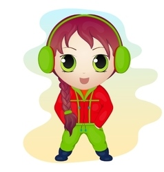 Cute anime chibi little girl wearing earmuffs vector image