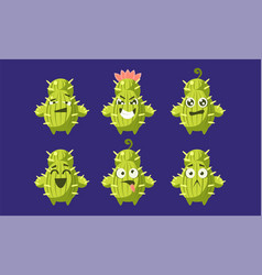 cute funny cactus characters set funny succulent vector image