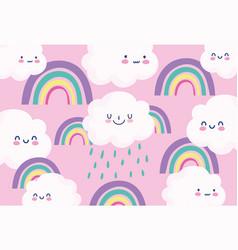 cute rainbows clouds rain cartoon decoration pink vector image