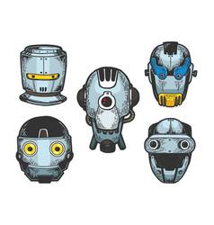 Cyborg robot heads set color sketch engraving vector