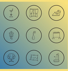 decor icons line style set with cuckoo clock tall vector image
