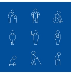 Disability thin line icons vector