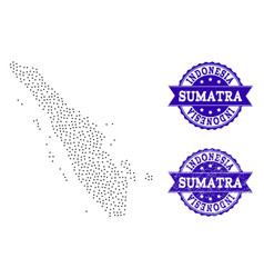 Dotted map of sumatra island and textured seal vector