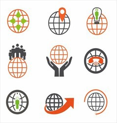 Earth Icons Set Creative Globe Elements vector image