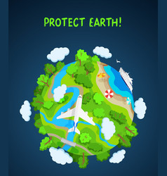 earth protect concept planet globe with trees vector image