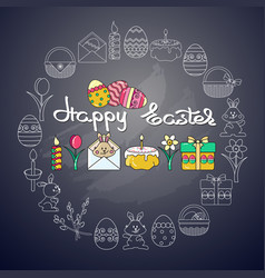 Easter icon and handwritten word happy easter on vector