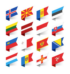 Flags world europe set 3 vector