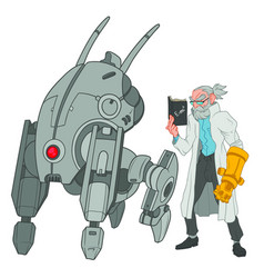Four legged robot stands next to an old scientist vector
