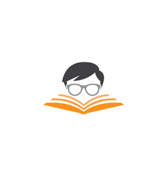 Geek read a book logo design student vector