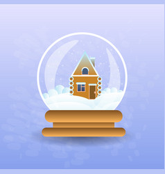 gingerbread house covered with snow in christmas vector image