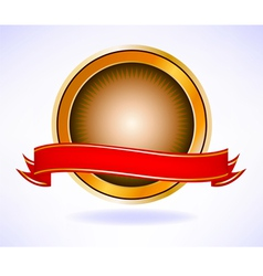 Golden seal and red banner vector image