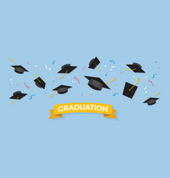 graduating black caps up in air vector image