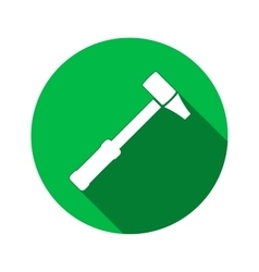 Hammer icon Repair tool symbol Round circle flat vector