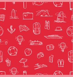 hand drawn travel doodles seamless background vector image
