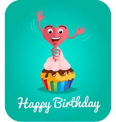 Happy birthday card jumps out of cake 2 vector image
