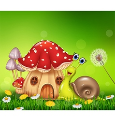 Happy snail with beautiful mushroom house vector image