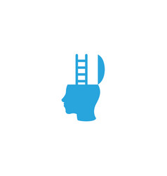 Head and stairs icon brain development for logo vector