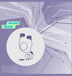 headphones icons on purple abstract modern vector image