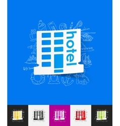 Hotel paper sticker with hand drawn elements vector