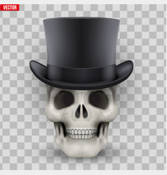human skull with black cylinder hat vector image