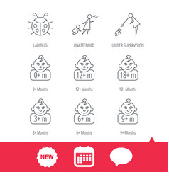 Infant child ladybug and toddler baby icons vector