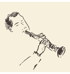 Jazz poster Clarinet music acoustic consept vector image
