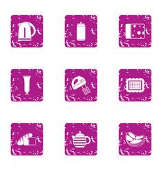 Kitchen tea icons set grunge style vector