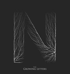 letter n of branch or cracked alphabet n vector image