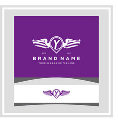 Letter y pin map wing logo design concept vector