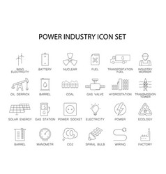 line icons set power industry pack vector image
