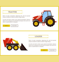 Loader bulldozer and tractor vector