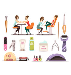 manicure icons set vector image