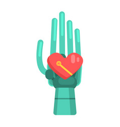 metal android hand holding heart shape element vector image