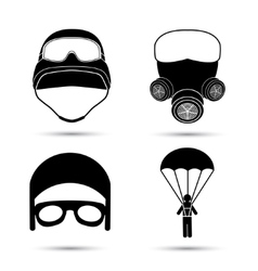 Military Icons set isolated on white vector image