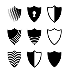modern shields icons set on white vector image vector image