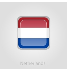 Netherlands flag button vector