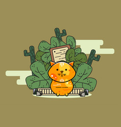 orange cat cartoon with cactus background vector image