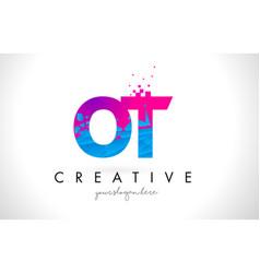 ot o t letter logo with shattered broken blue vector image