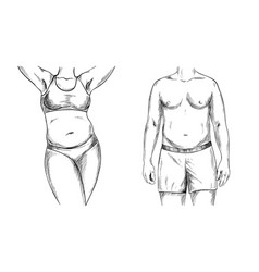overweight couple man and woman torso sketch vector image